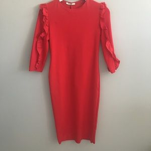Zara Red Ponte Di Roma Knit Dress with Ruffles